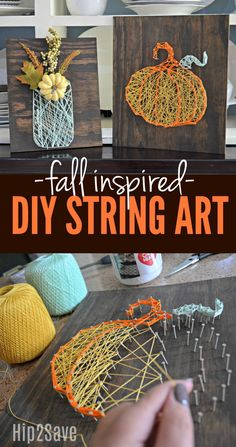 Get crafty this fall by making some festive DIY string art to display as festive seasonal decor! #art_crafts_gifts