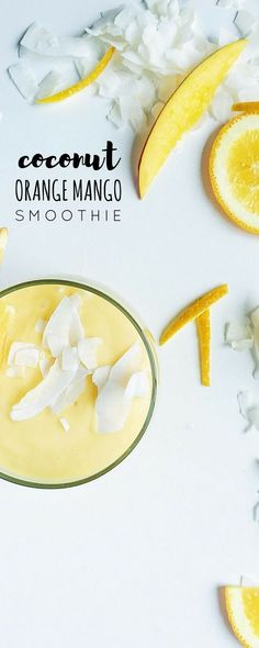 Coconut, Orange + Mango Smoothie is fruity, refreshing, tropical, and tastes like sunshine in a glass! This ultra-creamy smoothie is the perfect summer treat.