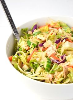 Thai Chicken Chopped Salad (Whole30 Paleo) - Crunchy veggies, chicken, and a sweet and tangy lime dressing combine for a tasty and satisfying meal. Whole30 approved!   tastythin.com