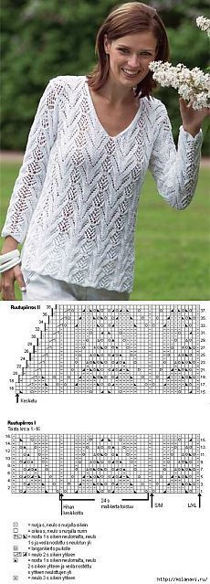 Белый ажурный пуловер.: