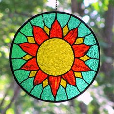 Stained Glass Yellow Orange Sun by livingglassart home of oddballs and oddities… Modern Stained Glass, Stained Glass Paint, Stained Glass Suncatchers, Stained Glass Flowers, Stained Glass Designs, Stained Glass Panels, Stained Glass Projects, Stained Glass Patterns, Glass Garden Art