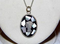 Sterling Silver Necklace with black onyx, mother of pearl 1947 mercury dime head