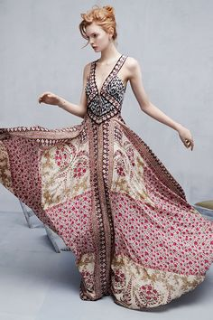 We absolutely love this boho-chic maxi by Marchesa Voyage!