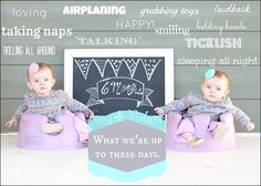 I would do this if we have another baby because I think this is a great idea to commemorate each month (Home photo shoots with chalkboard art + captions)