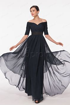 Modest Off the Shoulder Dark Navy Prom Dresses