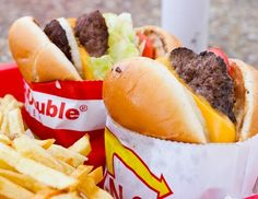 two in n out burgers and fries