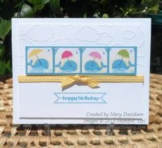 A cute kid's card by Mary. The whales are punched from Sunshine & Sprinkles dsp. She also used Itty Bitty Banners and Cloudy Day embossing folder.
