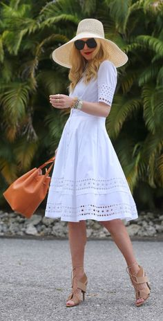 Floppy Hat + White Sundress #spring #style