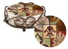 Fleur de Lis Coaster Set with Bronze Holder  http://www.amazon.com/dp/B004SI7X00/ref=cm_sw_r_pi_dp_zd2wqb18THHXG