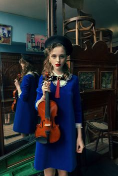 "Muse and violinMuse and violin PHOTOGRAPHER: ANDREY YAKOVLEV Art director: LILI ALEEVA MODELS: ANISIA, RISHA (ABA models) MUAH:PAVEL NATSEVICH STYLE: HANNA YATSKO, RUSLAN SHAKUROV For collection Hanna Yatsko ""For Chagal"""