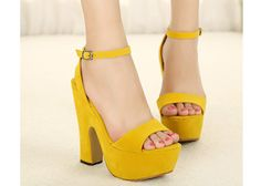 Concise Women's Sandals With Solid Color and Chunky Heel Design (YELLOW,38)   Sammydress.com