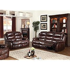 GTU Furniture Motion Sofa Loveseat Recliner Living Room Bonded Leather Set (Sofa and Loveseat, Brown): Kitchen & Dining