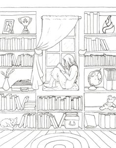 Solitude Lineart by ~KayQy on deviantART girl reading book librarythis would make a really cool embroidery pattern. Solitude Lineart by ~KayQy on deviantART'Book Nook' Adult Color PageiColor The Doorway Age Reading booksIf someone is daring enough to Printable Adult Coloring Pages, Coloring Book Pages, Coloring Sheets, Buch Design, Book Drawing, Drawing Poses, House Drawing, Easy Drawings, Drawing People