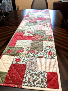 "Handmade Christmas Table Runner Under the Mistletoe 62.5"" x 18"""