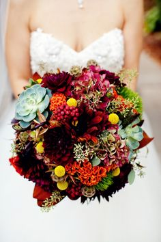 Fall wedding bouquet by Stems Chicago. Shot by Olivia Leigh Weddings