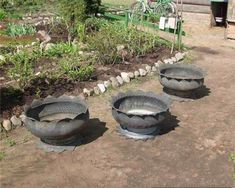 Creative flower pots out of old tires