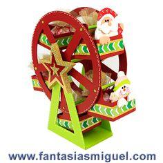 Despachador De Dulces Rueda De La Fortuna Con Figuritas De Santa - Como Hacer Manualidades - Fantasias Miguel