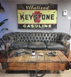 to a couple of our favorite a rare Keystone Gasoline porcelain sign and the coolest ever. Man I miss that… to a couple of our favorite a rare Keystone Gasoline porcelain sign and the coolest ever. Man Cave Furniture, Furniture Design, Cheap Furniture, Rustic Man Cave, Ultimate Man Cave, Home Coffee Stations, Cigar Room, Porcelain Signs, Man Cave Home Bar