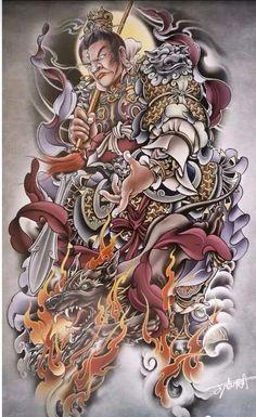 Samurai Tattoo, Tattoo Designs, Oriental, Illustration, Tattoos, Japan, Fashion, Dog, Tattoo Art