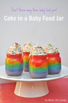 Rainbow Cake in A Jar - Make Life Lovely use orange, yellow, and white for Halloween cupcakes.