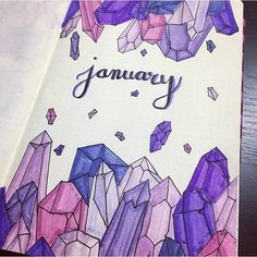 Bullet journal monthly cover page January cover page crystal drawings. Bullet Journal School, January Bullet Journal, Bullet Journal Aesthetic, Bullet Journal Notebook, Bullet Journal Ideas Pages, Bullet Journal Spread, Bullet Journal Layout, Journal Diary, Crystal Drawing