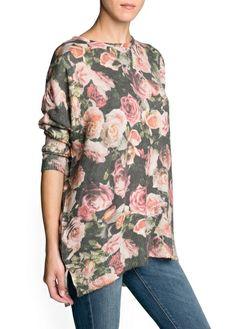 Camisola floral lã e mohair