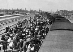 29 of 192 Birkenau, Poland, Jews on the platform, after alighting from a train, 27/05/1944. 4128558531830386585.JPG
