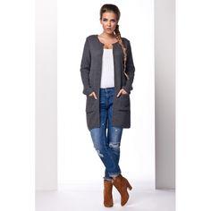Cardigan dama cu lungime medie si maneci lungi gri-inchis #cardiganpesterochie Duster Coat, Cardigan, Sweaters, Jackets, Fashion, Tricot, Down Jackets, Moda, Fashion Styles