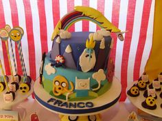 Awesome cake at a Adventure Time birthday party! See more party ideas at CatchMyParty.com!