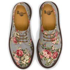 Dr Martens 1461 Pw Shoe GREY DENIM VICTORIAN FLOWERS - Doc Martens Boots and Shoes ($50-100)