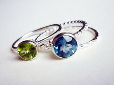 Sterling Silver Gemstone Stacking Rings, Topaz, Peridot & Hammered Rings- FREE SHIPPING! All Sizes Available - Made to Order on Etsy, $97.17