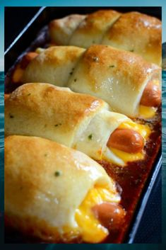 How To Make Chili Cheese Dog Bake All red meat warm puppies are wrapped up with cheese in a few Pillsbury pizza dough, then baked on pinnacle of a bed of chili. I dressed up the tops of those with a quick melted butter that's pro to perfection. Easy Cake Recipes, Real Food Recipes, Snack Recipes, Dinner Recipes, Cooking Recipes, Yummy Food, Snacks, Budget Recipes, Dinner Ideas