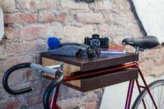 FIXA Bike Shelf Doubles as a Table with Storage Photo... via Design Milk