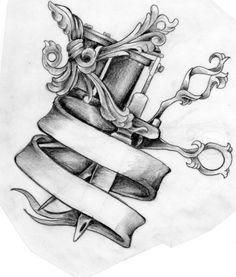 tattoos of tattoo machines   Scissors and Tattoo Machine tattoo design by ~Mustang-Inky on ...