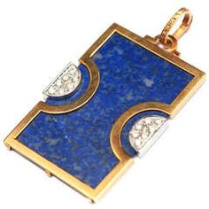Lapis Diamond Gold Pendant
