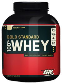 My favorite whey protein supplement.  Vanilla ice cream flavor is great and mixes well.  We make a daily, morning smoothie.  Add 1 banana, frozen pineapple chunks and frozen mixed berries (strawberries, blueberries, raspberries, blackberries) with water and a scoop of protein.  Delicious and you keep calories down by using water rather than fruit juice, plus you're getting a great serving of vitamin-packed fruits.