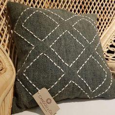 Dark Green Raw Cotton Cushion With White Diamond Pattern Stitches – Canggu & Co Diy Cushion Covers, Cushion Cover Pattern, Cushion Cover Designs, Pillow Covers, Cushion Embroidery, Embroidered Cushions, Hand Embroidery, Diy Pillows, Decorative Pillows