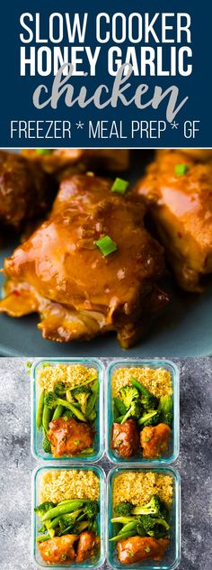 Sticky slow cooker honey garlic chicken thighs are simple to throw together and have a deliciously sticky sweet and savory sauce that is perfect for spooning over rice and vegetables. Perfect as a weeknight dinner or meal prep recipe. Crock pot honey garlic chicken, paleo honey garlic chicken, gluten-free honey garlic chicken, meal prep honey garlic chicken #sweetpeasandsaffron #mealprep #slowcooker #freezerslowcooker #crockpot #freezermeal #chicken #dinner #lunch via @sweetpeasaffron