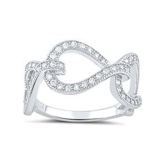Sterling Silver Simulated Diamond Twisted Chain Link Ring  Size 8 ** Learn more by visiting the image link.Note:It is affiliate link to Amazon.