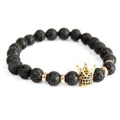 Gold Crown / Lava Stone - Gemstone Bracelet - Ancient Wisdom - Wholesale Giftware and Aromatherapy Supplier Hamsa, Swarovski, Gold Crown, Gemstone Bracelets, Boho Jewelry, Jewellery, Bling, Gemstones, Wristlets