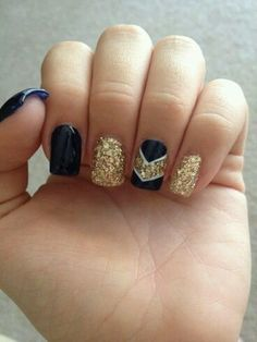 Navy Jelly with Gold Glitter Chevron Accent