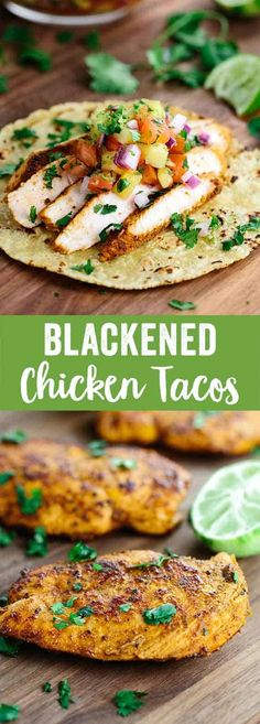 Blackened Chicken Tacos with Pineapple Salsa - This recipe will make any day feel like a Taco Tuesday fiesta! Healthy white meat chicken breast is marinated in savory spices and herbs. via (ground beef with potatoes tacos) Clean Eating Recipes, Cooking Recipes, Healthy Recipes, Healthy Chicken Meals, Clean Eating Chicken, Clean Eating Tacos, Cooking Kale, Cheap Recipes, Egg Recipes