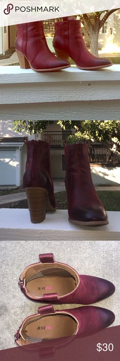 Burgundy Leather Booties These beauties from Just Fab are super comfy, so cute, & will add the perfect pop of color to any outfit. They have only been worn once. These booties are the perfect addition to any winter & spring wardrobe! JustFab Shoes Ankle Boots & Booties