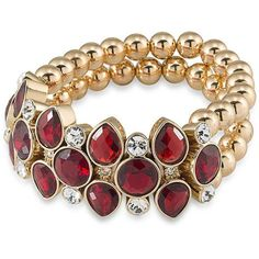 Carolee The Big Apple Beaded 12K Goldplated Stretch Bracelet ($95) ❤ liked on Polyvore featuring jewelry, bracelets, red, beading jewelry, red jewelry, gold plated bangles, druzy jewelry and carolee jewelry