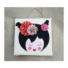 Tableau Miss Téa art textile tableau enfant par EphemereCollection