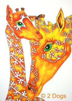Giraffe art print mom and Baby Giraffe by 2DogsArtAndPrints