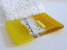 Soap Dish in Yellow Fused Glass by bprdesigns on Etsy