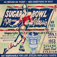 Georgia Tech won the National Title in 1952. Sugar Bowl football ticket drink coasters. GT won 24-7. Coming Soon! http://www.shop.47straightposters.com/