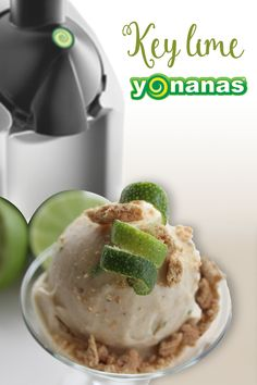 Bananas, Cinnamon Graham Crackers & Lime create a sweet & tart Key Lime Nice Cream with Yonanas! Healthy Deserts, Vegan Desserts, Easy Desserts, Delicious Desserts, Cold Deserts, Frozen Desserts, Frozen Treats, Dessert Makers, Frozen Yogurt