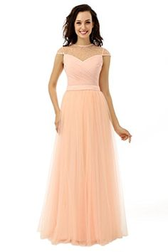 Dressgirl Elegant Evening Dresses 2017 A-line High Collar Cap Sleeves Coral  Tulle Pearls Long Evening Gown Prom Dress Real Photo f68fc0825f82